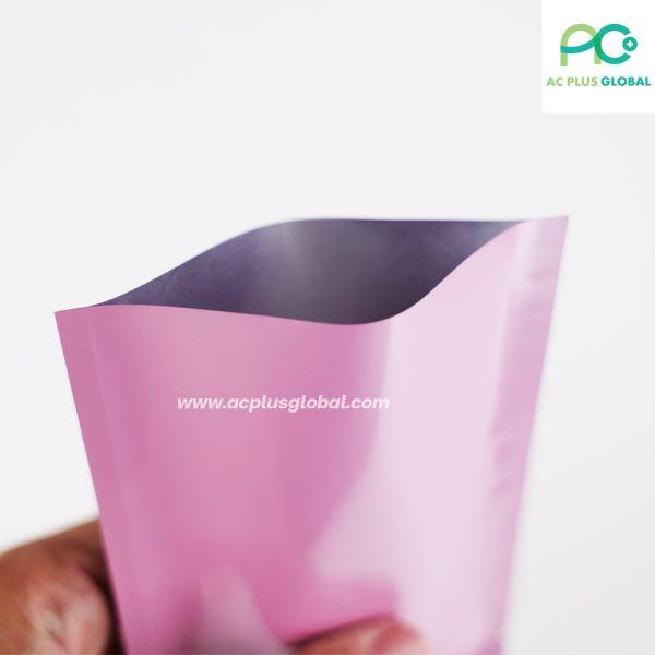 ซองซีล3ด้าน เนื้อพลาสติกเงา สีชมพู [100ใบ]