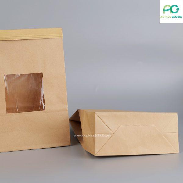 ถุงกระดาษคราฟท์ มีหน้าต่าง มีลวด ขยายข้าง ตั้งได้