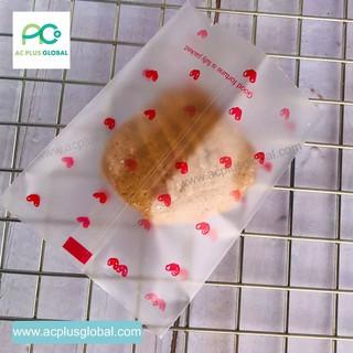ถุงใส่คุกกี้ ซองซีล ซองซีลกลาง ลายหัวใจ ตั้งไม่ได้(100 ใบ)