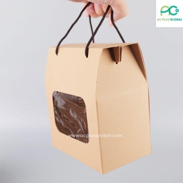 กล่องกระดาษ มีหน้าต่างใส พร้อมเชือก สีน้ำตาล กล่องใส่คุกกี้ กล่องขนม (แพค/10ใบ)