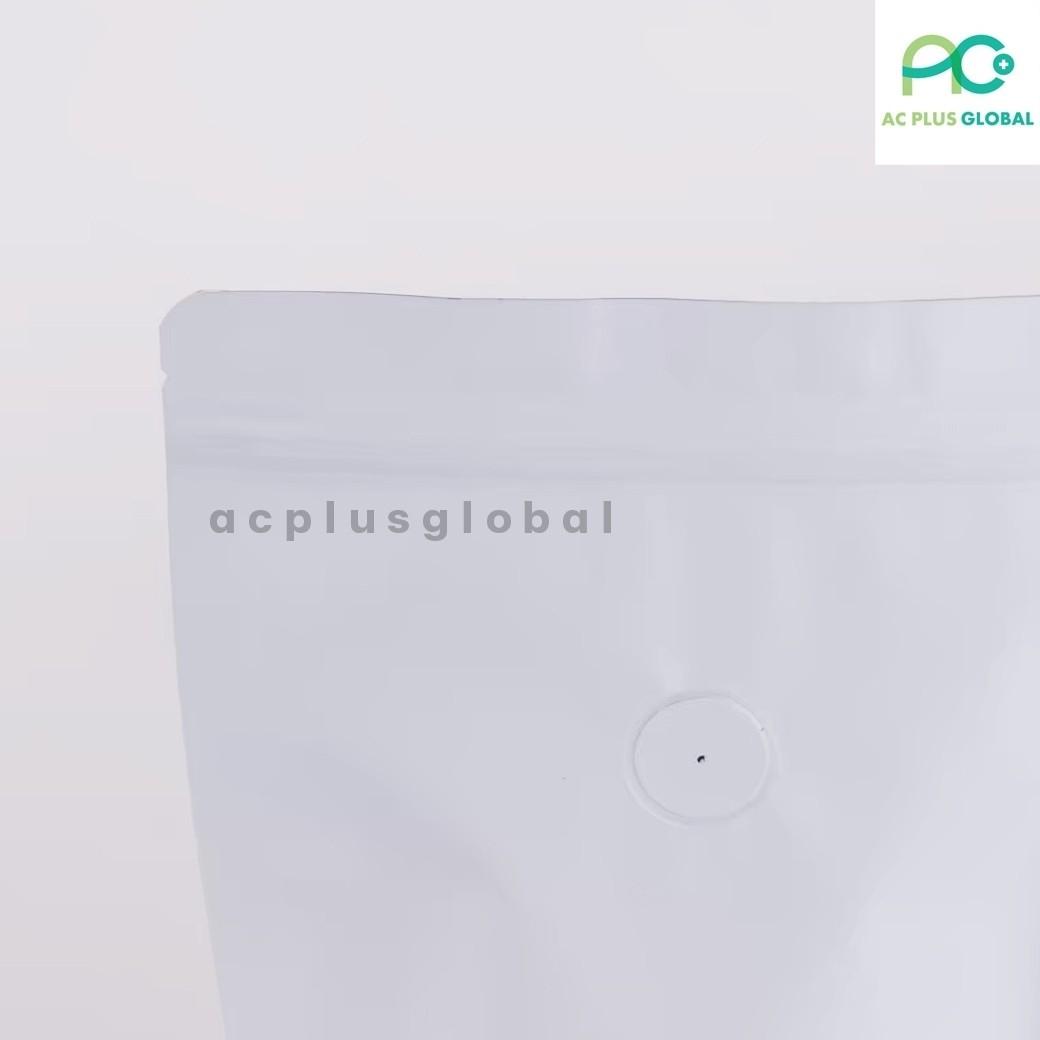 ถุงกาแฟ ถุงใส่เมล็ดกาแฟ ถุงซิปล็อค มีวาล์ว กระดาษคราฟท์ สีน้ำตาล - สีขาว ตั้งได้ ( 10 ใบ ) - acplusglobal