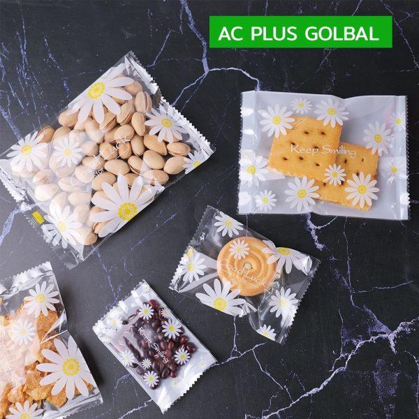 ถุงคุกกี้ ถุงซีล ถุงใส่ขนม ซองซีลกลาง ลาย DAISY (1แพ็ค/100 ใบ)